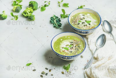 Broccoli green cream soup with mint and coconut cream