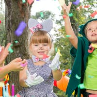 Kids enjoying the confetti rain