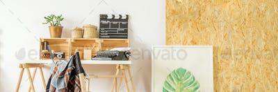 Simple wooden desk and chair