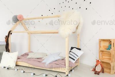 Nursery with polka dots wallpaper