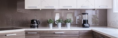 Wooden cupboards and white worktop