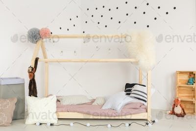 Wooden bed and soft accessories