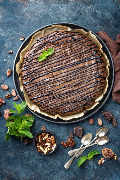 Delicious chocolate brownie cake with walnuts