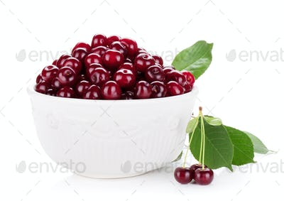 Fresh ripe cherries in bowl