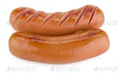 Two grilled sausages
