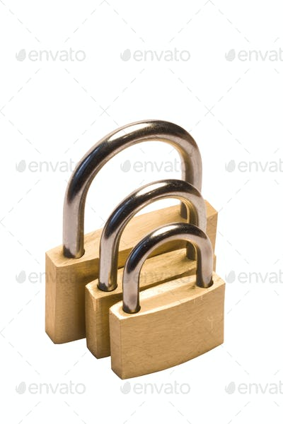 Three padlocks of different size