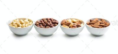 Hazelnuts, almonds, cashew and brazil nuts.