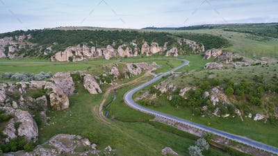 aerial view over Dobrogea Gorges (Cheile Dobrogei), Romania