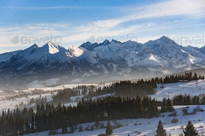 Winter landscape of High Tatra Mountains