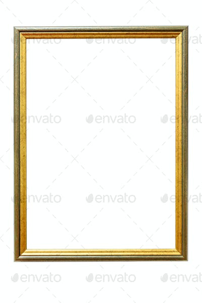 Green wooden picture frame on white background