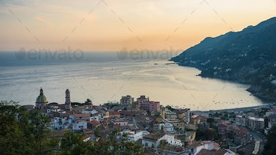 Panoramic view of Vietri sul Mare town in Italy
