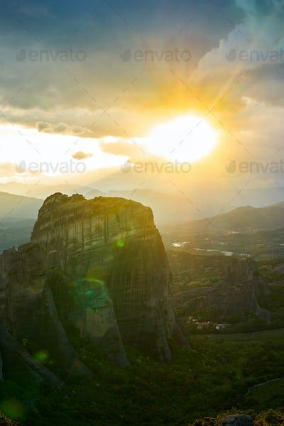Sunset of Meteora, Greece - Meteora Rocks landscape