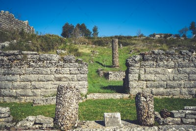 Ruins of ancient theater in Dodoni, Greece