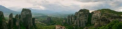Meteora, Greece. The Holly Monastery of Rousanou on background.