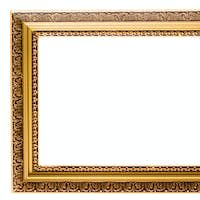 Empty gold plated wooden picture frame isolated