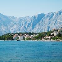 View of Kotor Bay near Dobrota, Montenegro
