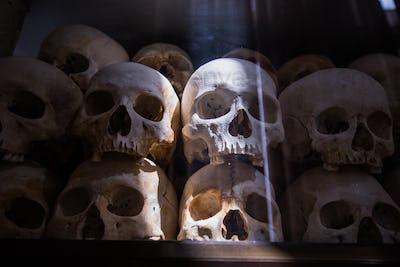 Human bones and skulls in tomb in Cambodia death fields
