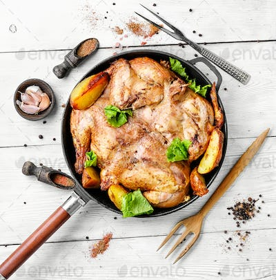 roast chicken tobacco on pan