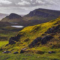 Landscape view of Quiraing mountains on Isle of Skye, Scottish highlands