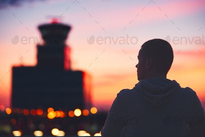 Traveler at the airport.
