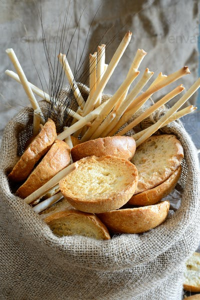 freselle of bread in sack