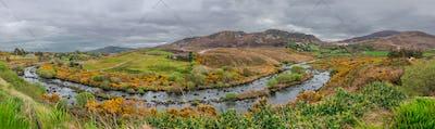 Rural Irish landscape panorama
