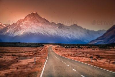 Beautiful road towards Mt Cook