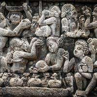 Wall reliefs in Borobudur temple