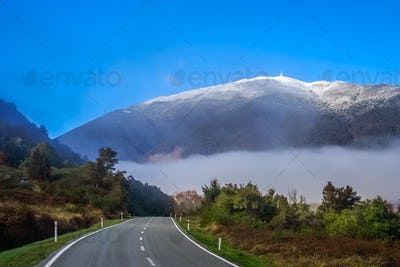 Road through New Zealand Alps