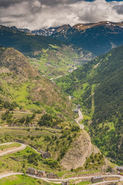 Aerial drone view over valley in Andorra