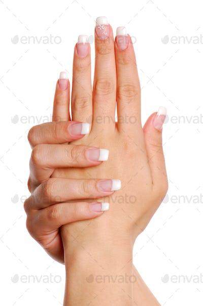 Beautifull woman hand. Fingernail.
