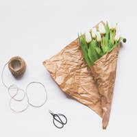 Bouquet of tulips and accessories, Top view