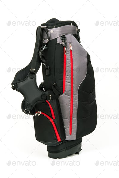 Golf Leather Bag on White Background