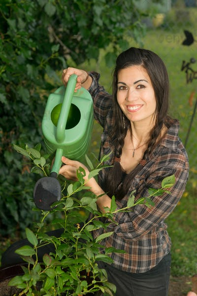 Portrait Woman Watering Plant Seedling Outdoor Growing Food