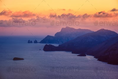 Landscape colorful sunset view of Amalfi coastline, Italy
