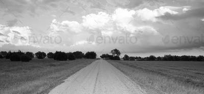 Panoramic Open Graven Road Rural Texas Black and White