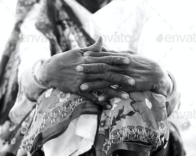 Weathered hands of African woman