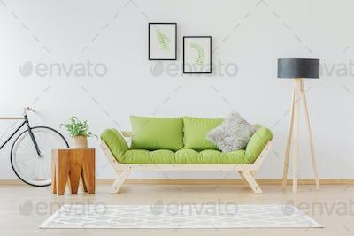 Green wooden sofa