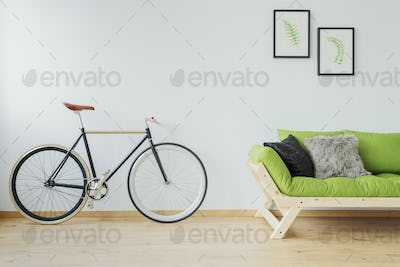 Stylish bicycle in the loft
