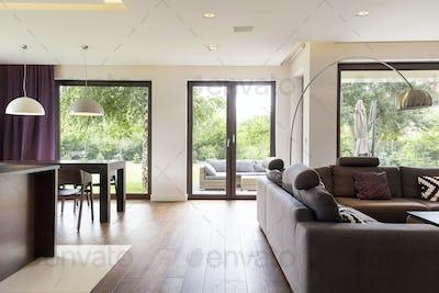Classically elegant living room with sofa