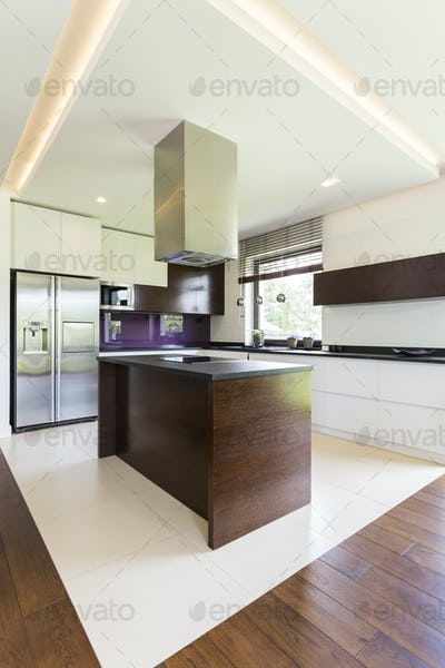 Open home space with kitchen island