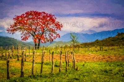 Red tree and autumn landscape impression