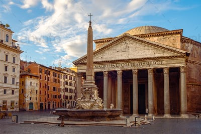 View of Pantheon basilica in centre of Rome