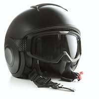 Black motorcycle helmet.