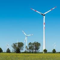 Windwheels in the fields in Germany