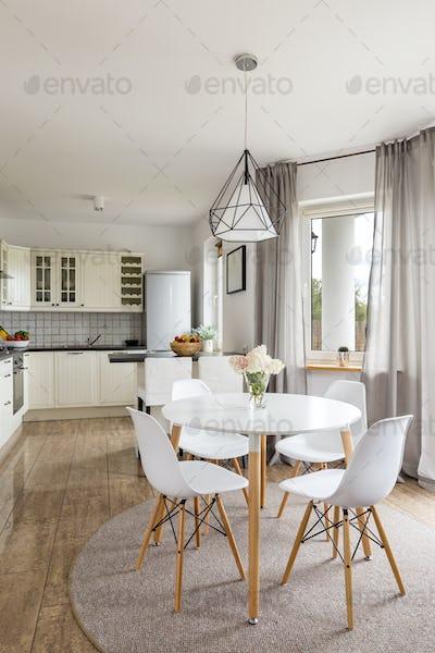 Modern kitchen with grey tiles