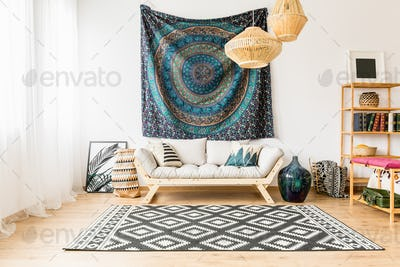 Living room with oriental accessories