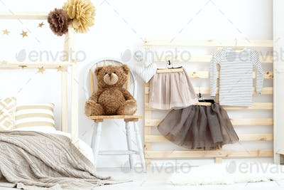 Stylish cozy scandinavian girl's bedroom
