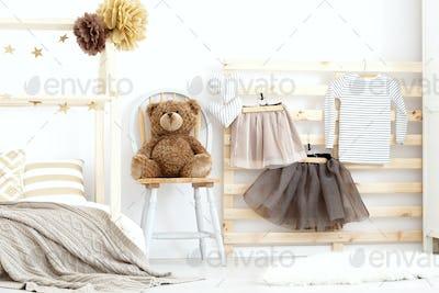 Stylish cozy scandinavian girl's bedroom