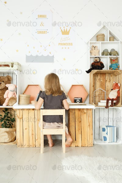 Desk made from wooden boxes